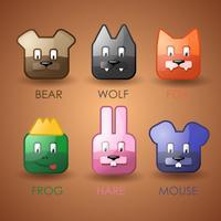 Conjunto de ícones de animais fofos