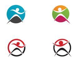 Signe de logo de caractère humain, logo de la santé. Signe de logo de nature. Signe de la vie verte logo,