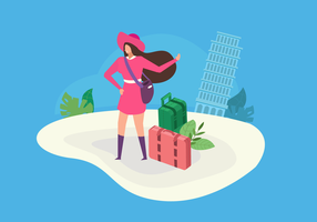Euro Trip Vacation Vector Illustration