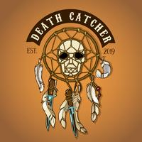 Colored Biker Skull Death Catcher Logo