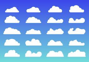 Sistema de estilo plano de moda de los iconos de las nubes blancas en fondo azul. Símbolo o logotipo en la nube, diferente para el diseño de su sitio web, logotipo, aplicación, interfaz de usuario