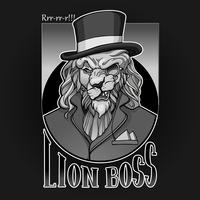 Lion aristocrat portrait with monocle and hat