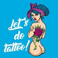 Lets do tattoo zegt getatoeëerd naakt meisje