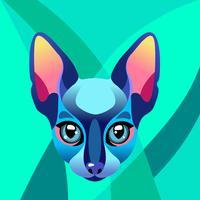 Illustration dans le style de vitrail avec chat géométrique abstrait