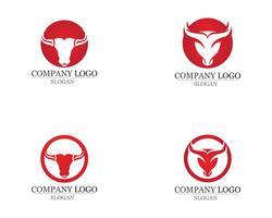 Iconos de plantilla de logotipo y símbolos de cuerno de toro