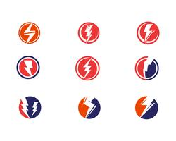 Flash power thunderbolt icons vector