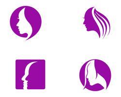 pelo mujer y rostro logo y simbolos ,,