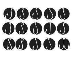 hook symbol and logo icon vectors