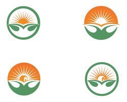 Le soleil et les feuilles deviennent des symboles de logo de feuille verte