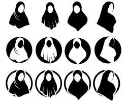 Hijab vector plantillas negras