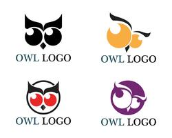 Owl head bird logo vector template animal