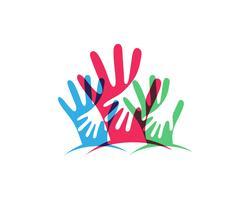 Icona del modello di logo e simboli di cura della mano