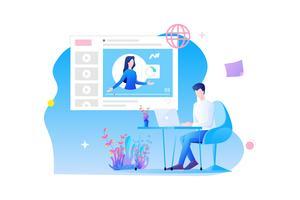 Online träning planlösning. en mans karaktär sitter vid skrivbordet som studerar online med online-kurs och online-koncept