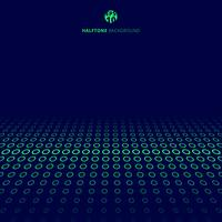 Abstract technology halftone green border circles perspective on blue background with copy space.