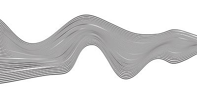 Abstract wave black curved line horizontal stripe isolated on white background.