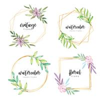 Watercolor floral frame with gold border vector