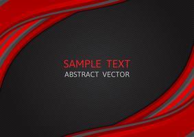 Fondo de vector abstracto de onda de color rojo y negro con espacio de copia, diseño gráfico moderno