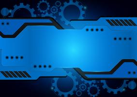 Blue technology gear vector abstract background