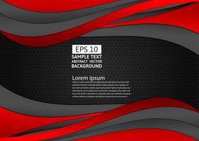 Fondo abstracto de onda de color negro y rojo con espacio de copia para su negocio, ilustración vectorial