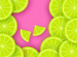 Lime Citrus Fruits Pop Background vector