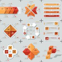 Conjunto de 9 infografías mínimas planas