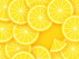 Lemon Citrus Fruits On Yellow Background vector