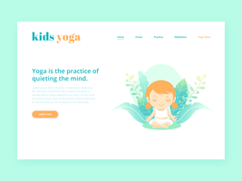 Kids Yoga Landing Page Vector Template