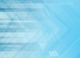 Abstract technology geometric corporate arrows with circuit board blue background.