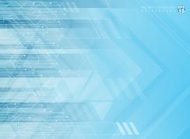 Setas incorporadas geométricas da tecnologia abstrata com fundo do azul da placa de circuito.