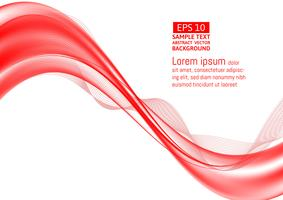 Wave red transparent abstract on white background with copy space, vector illustration