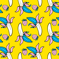 Summer Food Seamless Pop Art Pattern vector