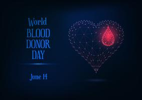 World blood donor day web banner with glowing low poly blood drop and heart symbol and text