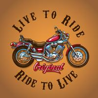 Motorcycle Live to Ride para imprimir camiseta vector