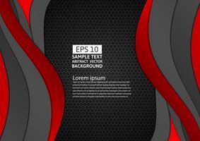 Fondo abstracto de curva geométrica de color negro y rojo con espacio de copia para su negocio, ilustración vectorial