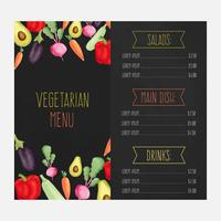 Menu del ristorante con verdure acquerellate