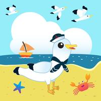 Sailor seagull on the beach vector