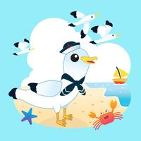 Seagull on the beach vector