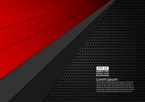 Black and red color geometric abstract background modern design with copy space Vector illustration