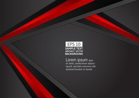 Fundo geométrico abstrato de cor preta e vermelha, com espaço de cópia para o seu design moderno de negócios, ilustração vetorial