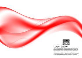 Résumé rouge transparent vague sur fond blanc avec espace de copie, illustration vectorielle EPS10