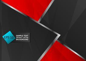 Abstrato preto e vermelho cor geométrica, fundo de design moderno com espaço de cópia, ilustração vetorial
