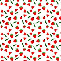 Diseño inconsútil del modelo de la fruta y de la mariquita en el fondo blanco, ejemplo del vector