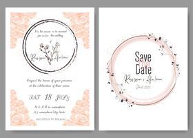 Tarjeta de la invitación de la boda Marco dibujado mano floral. Invitación de la boda del paisaje, invitación de la boda del eucalipto de la plantilla.