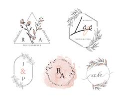 Hand Drawn Leaf Wreath Logo Design vector