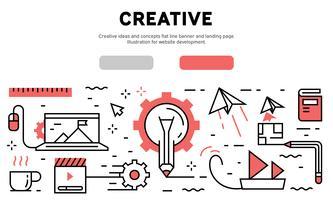 Idées créatives & bannière de ligne plate de concept et page de destination. Illustration pour le développement de sites Web