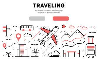 Recorrido de banner de línea plana y landing page. Ilustración para el desarrollo del sitio web.