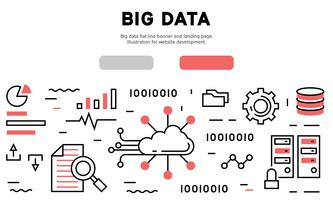 Big data flat line banner and landing page. Illustration for website development