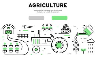 Agriculture flat line banner and landing page. Illustration for website development
