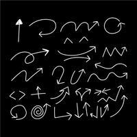 Hand tekenen Doodle pijlen instellen pictogram vectorillustratie