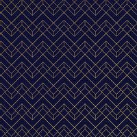 Gold geometric pattern with lines on dark blue background art deco style